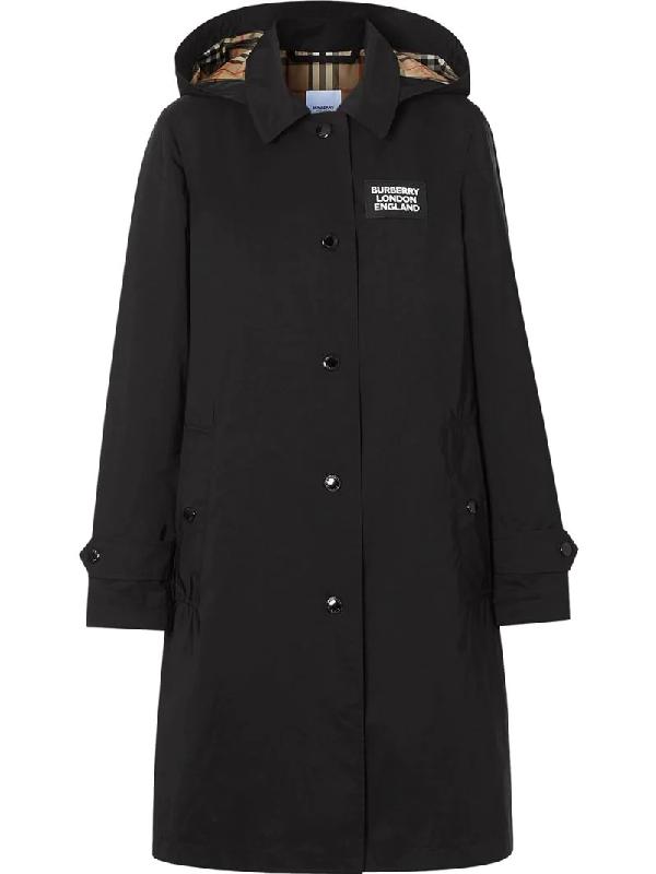 Burberry Detachable Hood Shape-memory Taffeta Car Coat In Black