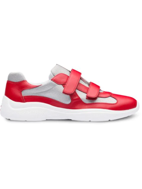Prada Amercia's Cup Leather & Technical Fabric Sneakers In F0F5C
