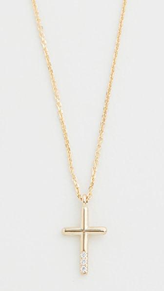 Jennie Kwon Designs 14k Diamond Cross Necklace In Yellow Gold