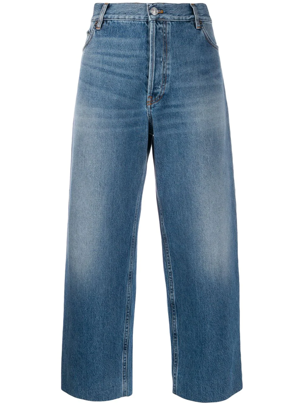 Balenciaga Straight-leg Cropped Jeans In Blue