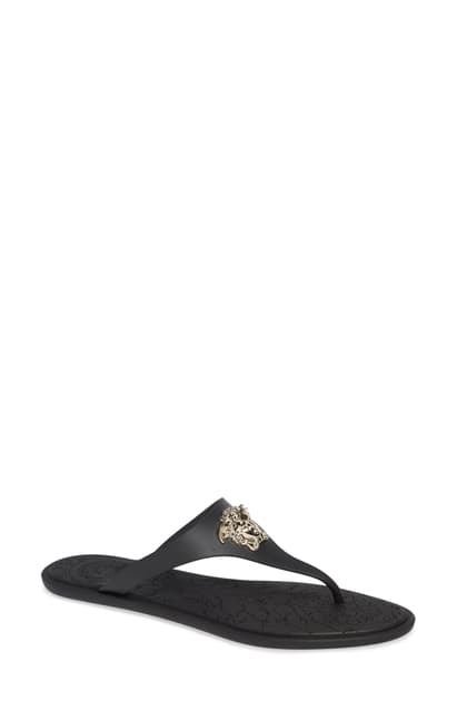 Versace Black Medusa Palazzo Thong Sandals In D41oc Black