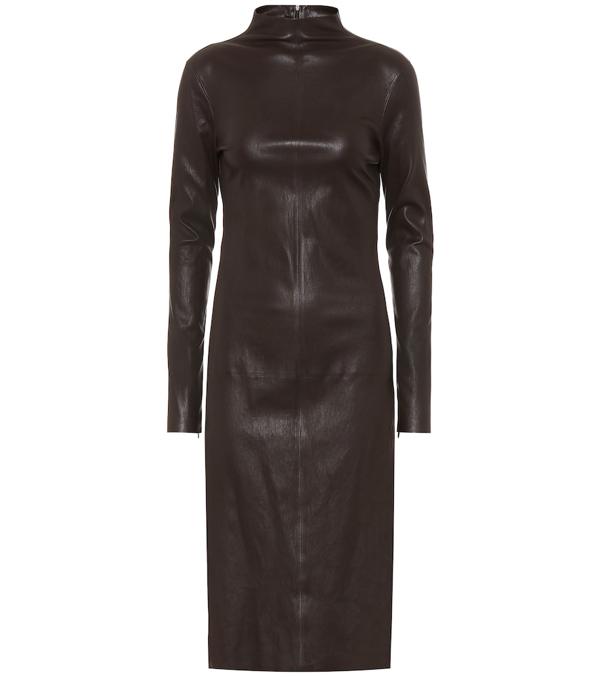 Bottega Veneta Turtle Neck Midi Dress In Brown