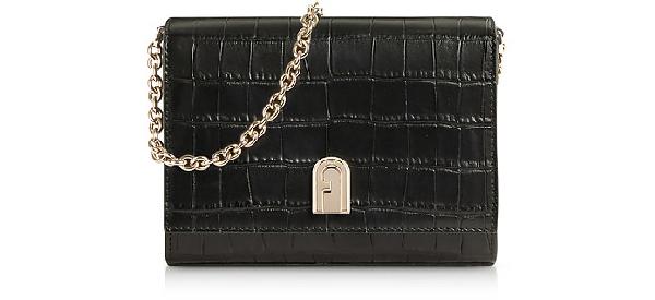 Furla Croco Embossed Leather 1927 Mini Crossbody Bag 18 In Black