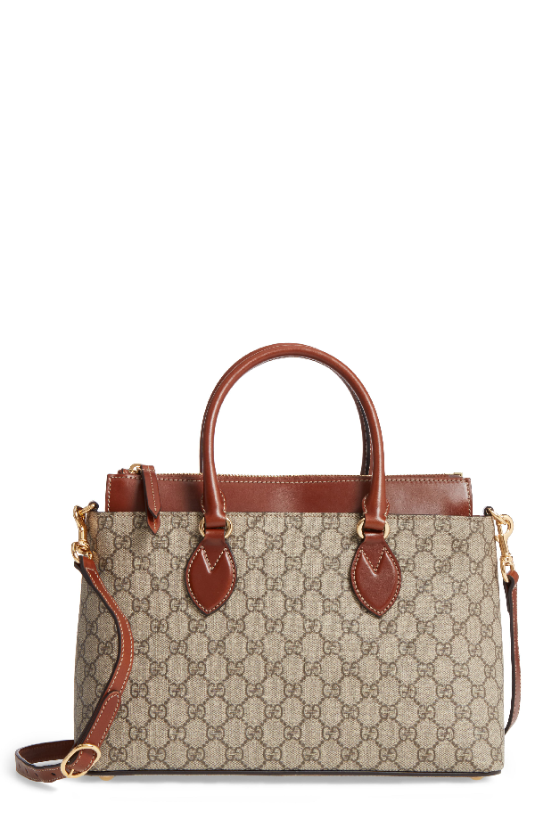 5cf699a93dff71 Gucci Small Top Handle Gg Supreme Canvas & Leather Tote - Beige In A ...