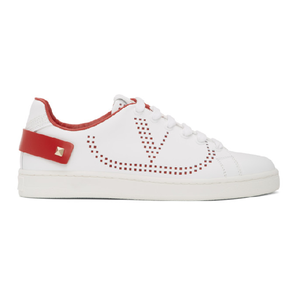 Valentino Garavani Low Sneakers With Go Logo Detail In White And Red Leather In White/red