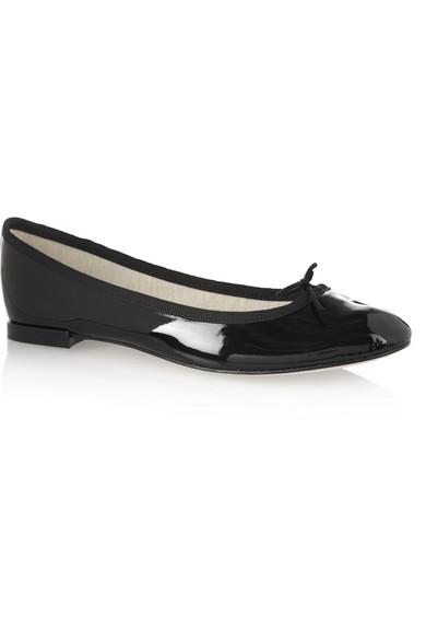 Repetto Black Patent Cendrillon Ballerina Flats In 410 Black