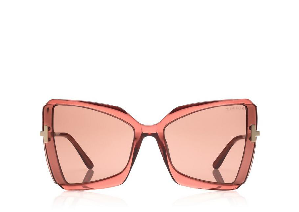 Tom Ford Gia 63mm Oversize Butterfly Sunglasses In Pink