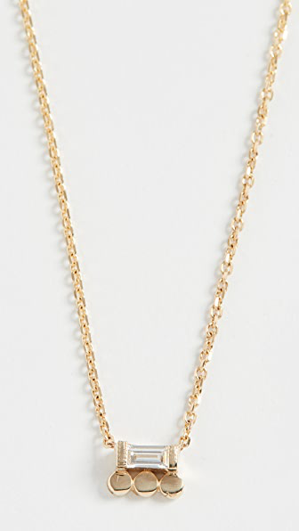 Jennie Kwon Designs 14k Baguette 3 Dot Necklace In Yellow Gold