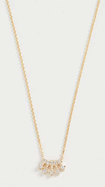 Jennie Kwon Designs 14k Mini Diamond Crown Necklace In Yellow Gold