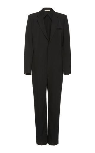 Bottega Veneta Tailored V-neck Wool Jumpsuit In Black