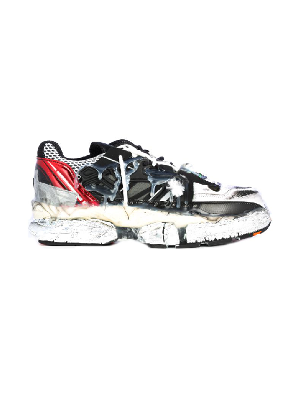 Maison Margiela Fusion Low Top Mix Fabric In Red Black White