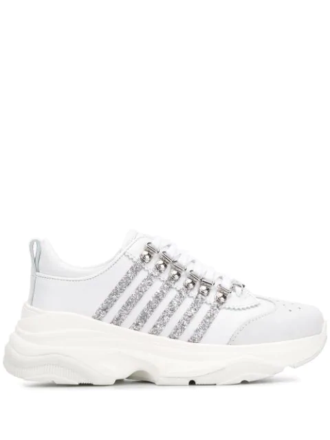 Dsquared2 Sneakers 251 In Pelle Con Decorazioni Glitter In White