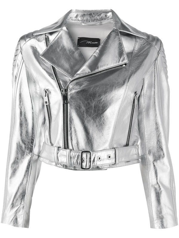 Manokhi London Metallic Biker Jacket In Grey
