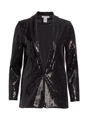 Joan Vass Petite Sequin Blazer In Black