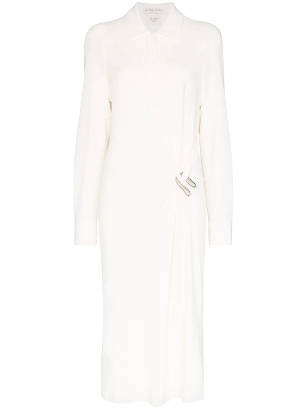Bottega Veneta Brooch Detail Shirt Dress In White