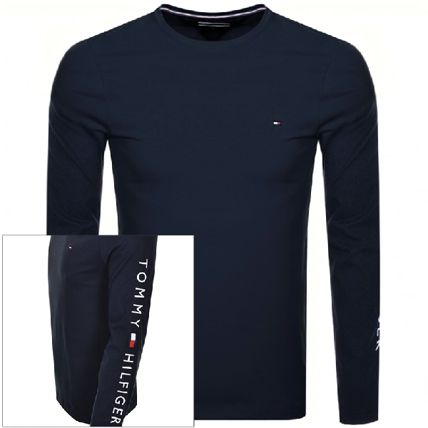 Tommy Hilfiger Long Sleeve Logo T Shirt Navy