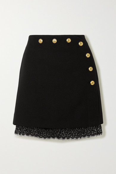 Givenchy Lace-trimmed Button-embellished Wool Mini Skirt In Black