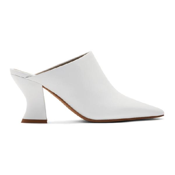 Bottega Veneta Leather Pointed Toe Mules In 9122 White