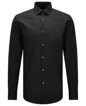 Hugo Boss Boss Men's Slim-fit Easy-iron Cotton Dress Shirt In Black