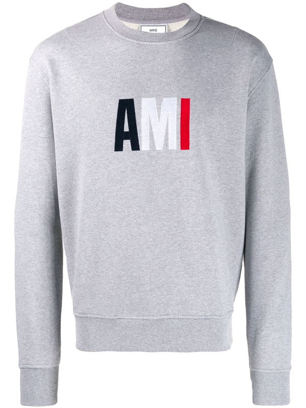 Ami Alexandre Mattiussi Mens Ami Embroidered Sweatshirt In Grey