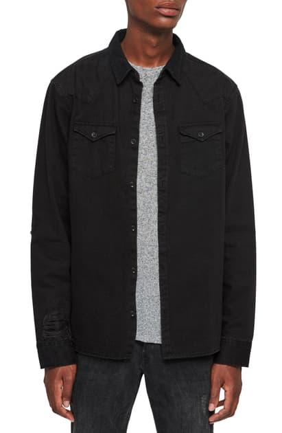 Allsaints Biso Distressed Denim Regular Fit Button-down Shirt In Black