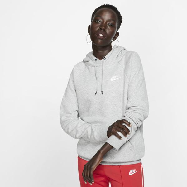 Nike Sportswear Essential Women's Fleece Pullover Hoodie (dark Grey Heather) In Birch Heather/ Black