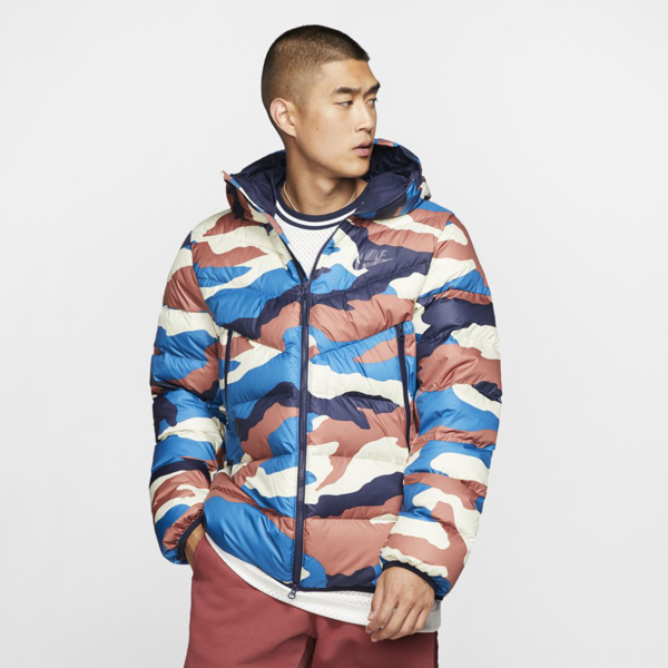 Circunferencia gris Plantación  Nike Sportswear Down Fill Windrunner Printed Hooded Puffer Jacket In Cream  | ModeSens