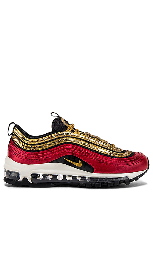 Nike Women's Air Max 97 Glam Casual Sneakers From Finish Line In Red/ Metallic Gold/ Black