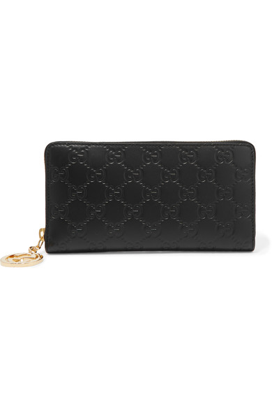 Gucci Icon Large Embossed Leather Wallet In Black