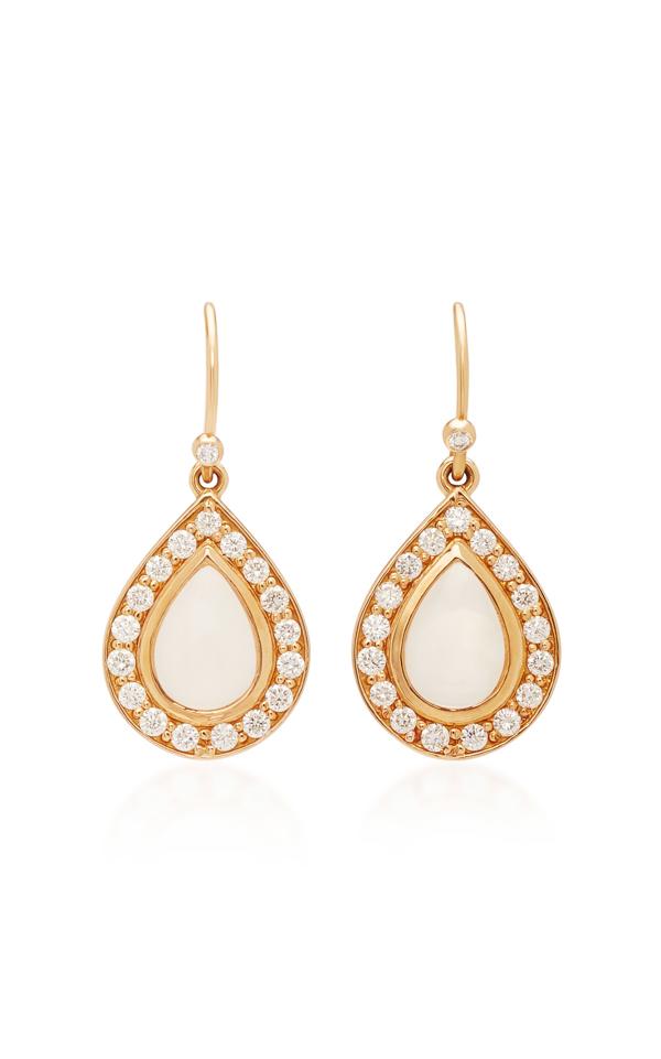 Misahara Basa 18k Rose Gold Moonstone And Diamond Earrings In White