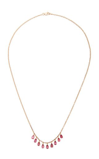 Misahara Plima 18k Gold And Tourmaline Necklace In Pink