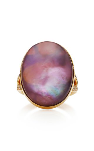 Misahara Yola 18k Gold Amethyst And Diamond Ring In Purple