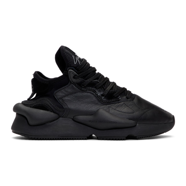 Y-3 Kaiwa Sneaker In Technical Fabric And Black Leather In Blkblkwht