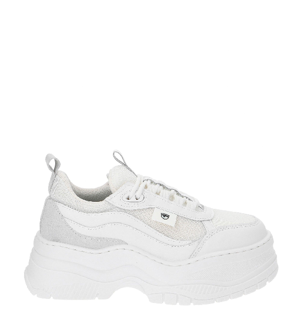 Chiara Ferragni White Leather And Fabric Sneaker