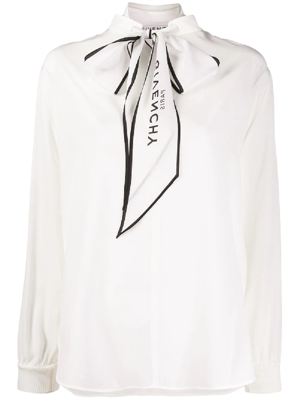 Givenchy Logo-print Tied-neck Silk-crepe Blouse In White