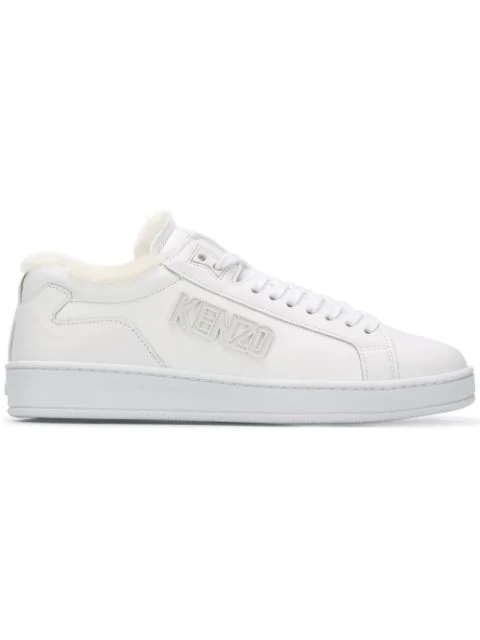 Kenzo Raised-logo Low-top Sneakers In White
