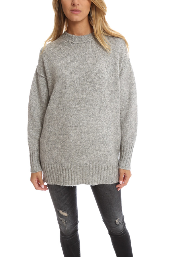 R13 Oversized Crewneck Sweater In Grey