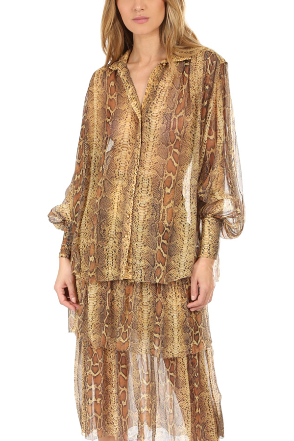 Zimmermann Ninety-six Lantern Gathered Snake-print Silk-crepon Blouse In Light Brown