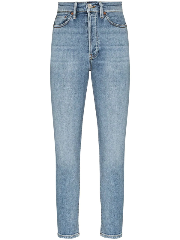 Re/done 90s Cropped Frayed High-rise Skinny Jeans In Light Denim