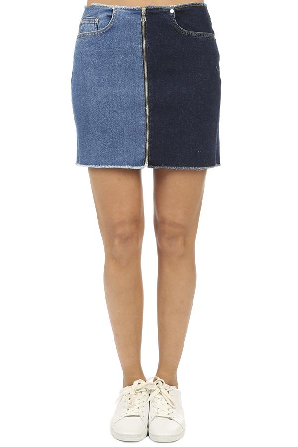 Cotton Citizen Mercer Two-tone Zip Mini Skirt In Mercer,melrose