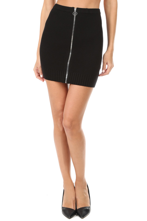 For Love & Lemons Women's  Harley Zipper Mini Skirt In Black