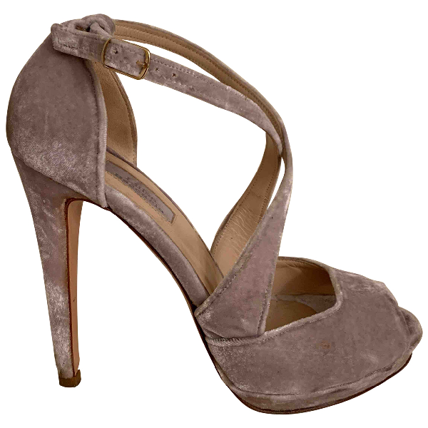 Luisa Beccaria Grey Velvet Sandals