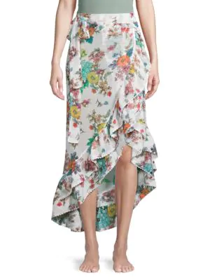 Pilyq Floral-print Asymmetric Skirt In White