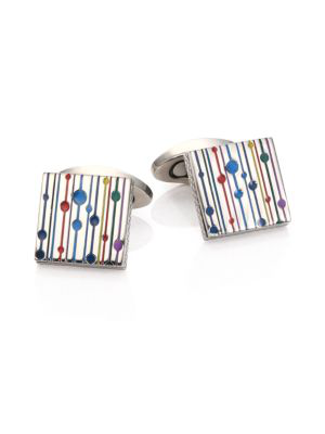 Tateossian Men's Multicolor Titanium Square Cuff Links In Silver