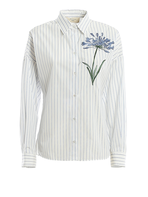 Weekend Max Mara Antony Stripe & Floral Embroidery Cotton Shirt In Light Blue