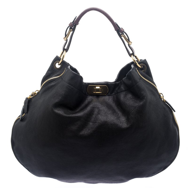 Pre-owned Marni Black Leather Expandable Hobo