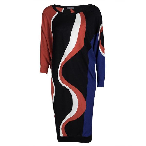 Alexander Mcqueen Multicolor Patterned Wool Dolman Sleeve Dress L