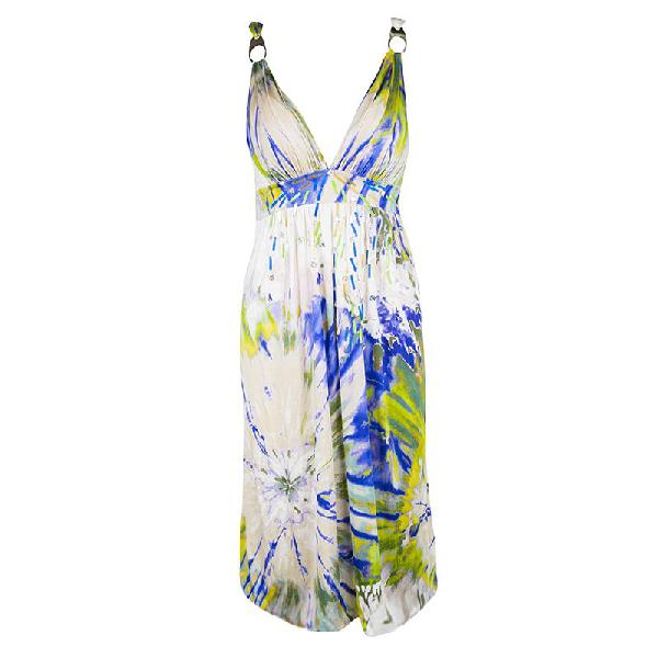 Blumarine Multicolour Embellished Sleeveless Silk Dress M In Multicolor