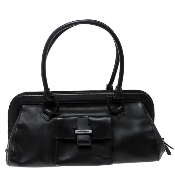 Pre-owned Salvatore Ferragamo Black Leather Frame Satchel