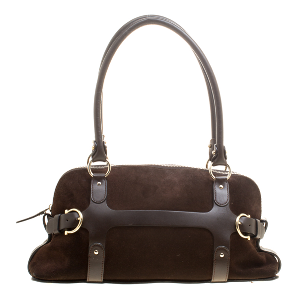 Pre-owned Salvatore Ferragamo Brown Suede And Leather Satchel
